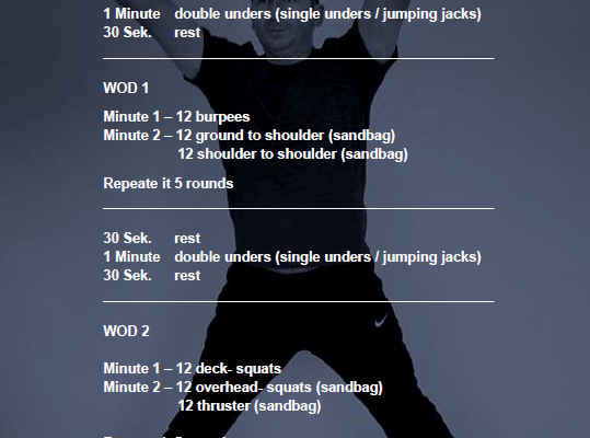 25 Minuten Sandbag EMOM Workout Bata-Challange 20.03 Cross-Fitness